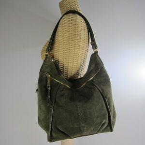 Tignanello Olive Green Suede Shoulder Bag Hobo